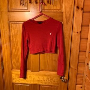 red long sleeve ralph lauren crop top